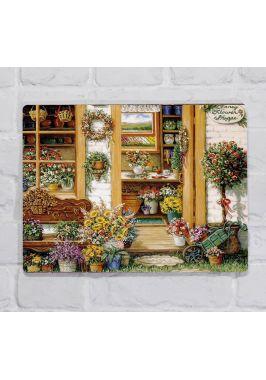 Металлическая табличка  для декора интерьера кухни Цветочная Лавка, металл, 20х30 см