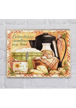 Металлическая табличка  для декора интерьера кухни Дружба - Лучший сахар, металл, 20х30 см