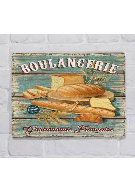 Металлическая табличка  для декора интерьера кухни или пекарни Булки и багеты, металл, 20х30 см