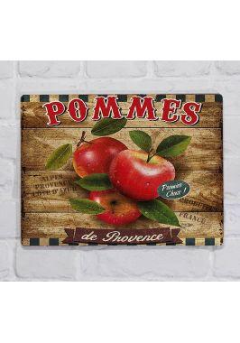 Металлическая табличка  для декора интерьера кухни винтажная, яблоки, металл, 20х30 см