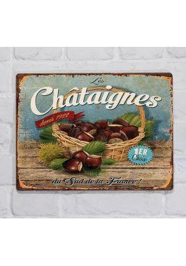 Металлическая табличка  для декора интерьера кухни винтажная, орехи, металл, 20х30 см