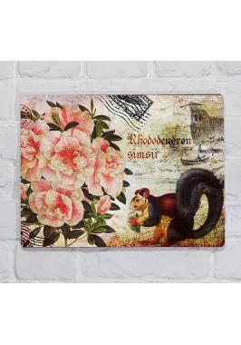Металлическая табличка  для декора интерьера кухни Розы и белка, металл, 20х30 см