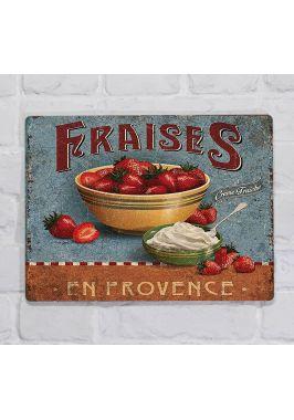 Металлическая табличка  для декора интерьера кухни Клубника со сливками, металл, 20х30 см