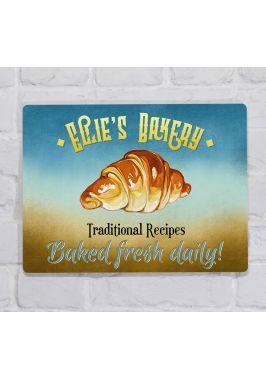 Металлическая табличка  для декора интерьера кухни и кондитерской Круассан, металл, 20х30 см