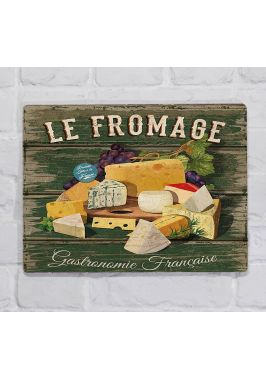 Металлическая табличка  для декора интерьера кухни Французские сыры, металл, 20х30 см