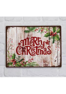 Металлическая табличка  для декора интерьера кухни С Новым годом и Рождеством, металл, 20х30 см