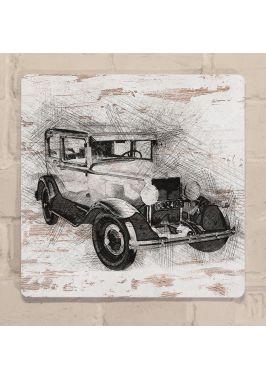 Картина для декора интерьера Скетч рисунок автомобиля, металл, 25х25 см.