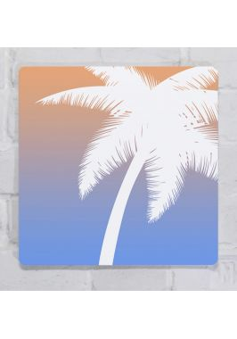 Картина для декора интерьера Абстракция пальма, металл, 25х25 см.