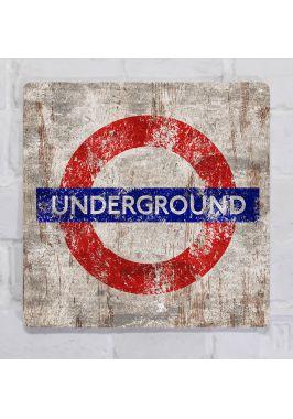 Винтажная картина для декора интерьера Underground, металл, 25х25 см.
