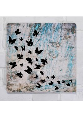 Картина для декора интерьера Абстракция бабочки, металл, 25х25 см.