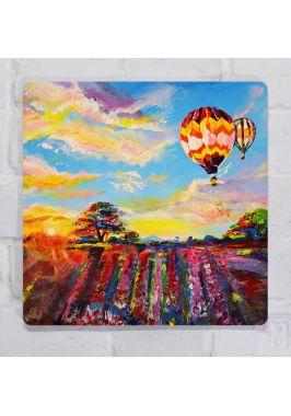 Картина для декора интерьера Пейзаж с воздушным шаром, металл, 25х25 см.