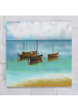 Картина для декора в морском стиле Пейзаж Море и лодки, металл, 25х25 см.