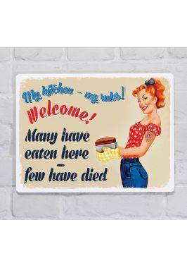 Металлическая табличка  для декора интерьера кухни Добро пожаловать!, металл, 20х30 см