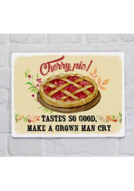 Металлическая табличка  для декора интерьера кухни Вишневый пирог, металл, 20х30 см