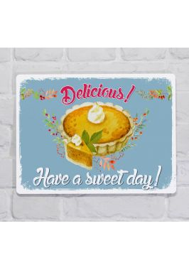Металлическая табличка  для декора интерьера кухни  и кондитерской Вкуснейший пирог, металл, 20х30 см
