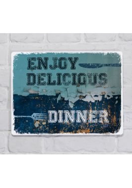 Металлическая табличка  для декора интерьера кухни Наслаждайтесь вкуснейшим ужином, металл, 20х30 см