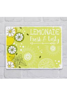 Металлическая табличка  для декора интерьера ресторана Вкусные и свежие лимонады, металл, 20х30 см