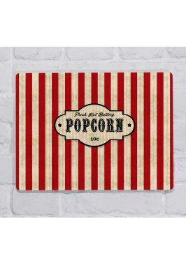 Металлическая табличка  для декора интерьера кухни Попкорн, металл, 20х30 см