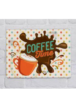 Металлическая табличка  для декора интерьера кофейни или кухни Время для кофе, металл, 20х30 см