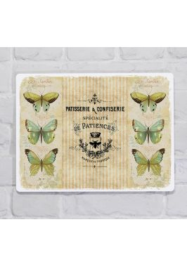 Металлическая табличка  для декора интерьера кухни или гостинойбабочки, металл, 20х30 см