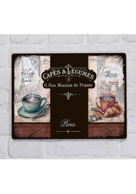 Металлическая табличка  для декора интерьера кухни кофе и круассан, металл, 20х30 см