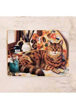 Жестяная табличка Кот художника