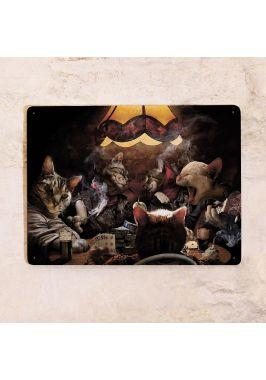 Жестяная табличка Коты играют в покер