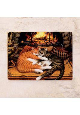 Жестяная табличка Коты у камина