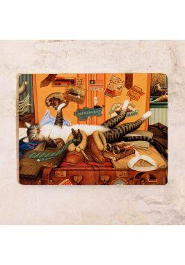 Жестяная табличка Кот путешественник