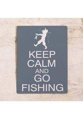 Жестяная табличка Keep calm and go fishing