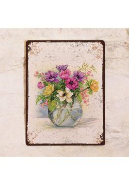 Жестяная табличка Весенний букет