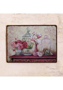 Декоративная табличка Натюрморт с магнолией