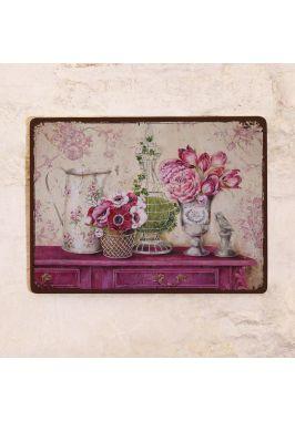 Декоративная табличка Розовый винтажный натюрморт