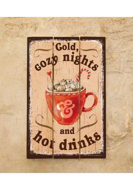 Деревянное панно Hot drinks