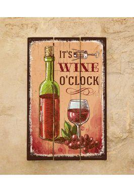 Картина из дерева Wine o'clock