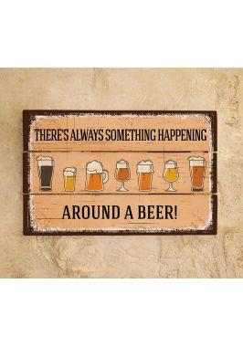 Картина из дерева Around a Beer