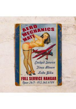 Жестяная табличка Aero Mechanics