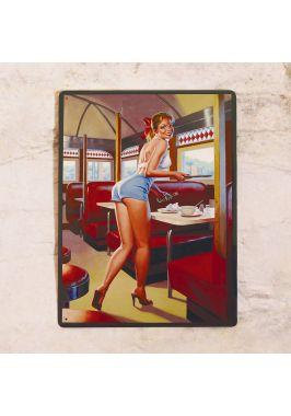 Жестяная табличка Pin up waitress
