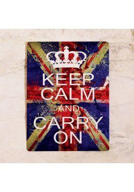 Жестяная табличка Keep calm and carry on (Union Jack)
