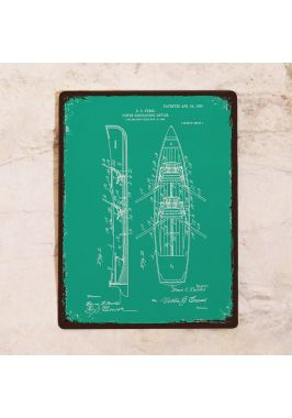 Жестяная табличка Яркий чертеж лодки