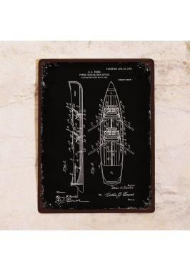 Жестяная табличка Чертеж лодки