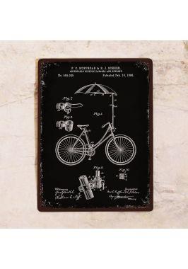 Жестяная табличка Велосипед с зонтом