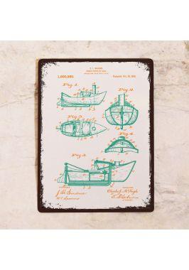 Жестяная табличка Яркий чертеж моторной лодки