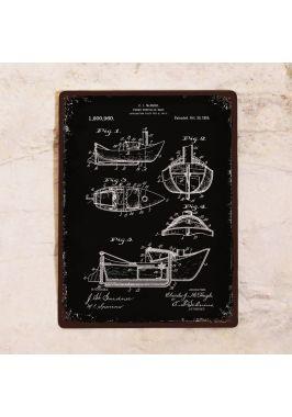 Жестяная табличка Патент моторной лодки