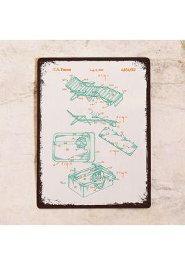 Жестяная табличка Яркий чертеж шезлонга