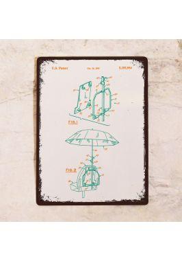 Жестяная табличка Яркий чертеж зонта