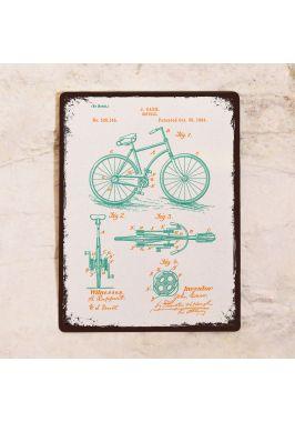 Жестяная табличка Яркий чертеж велосипеда