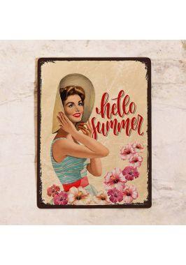 Жестяная табличка Hello summer