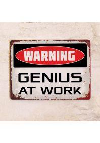 Мотивирующая табличка Genius at work