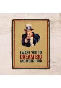Декоративная табличка I want you to dream big